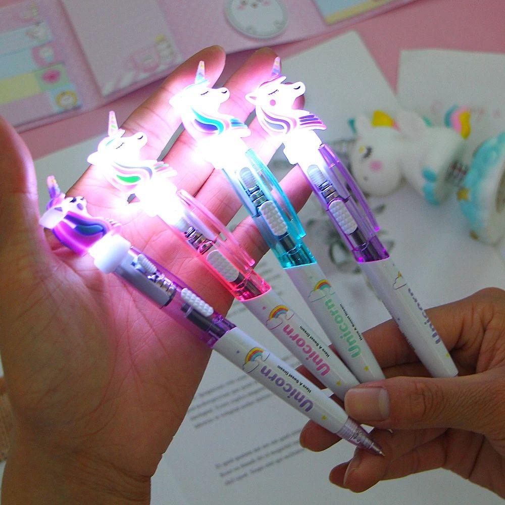 12 색 만화 유니콘 라이트 펜 LED 조명 실리카 헤드 젤 펜 빛나는 볼펜 학생 편지지 학교 작성 선물 용품