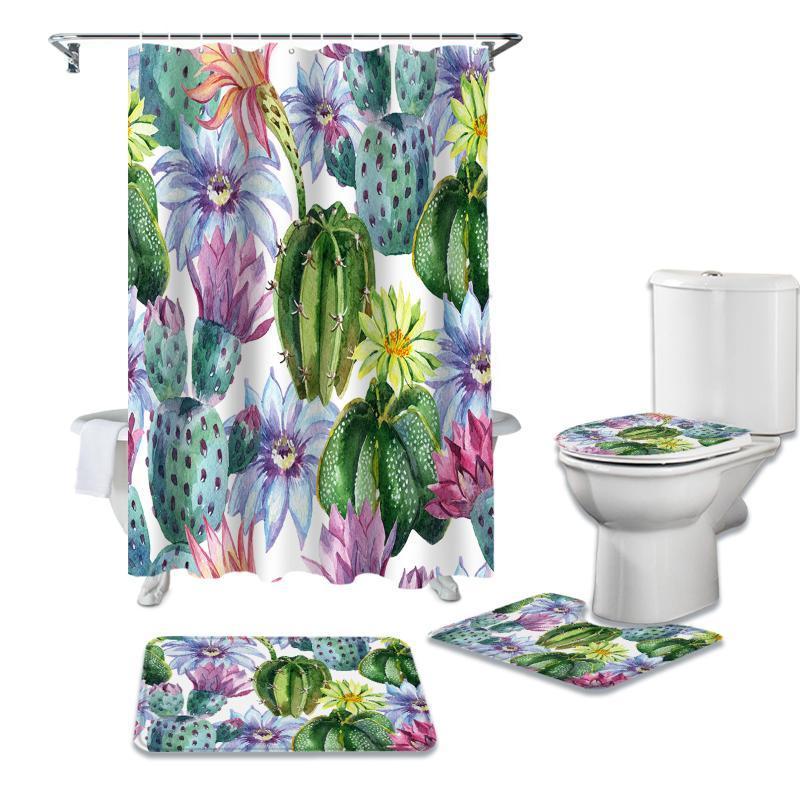 Акварели Кактус цветы Душ Занавес наборы Non-Slip Коврового Туалета колпак и коврик для ванной водонепроницаемой ванной комнаты Шторы