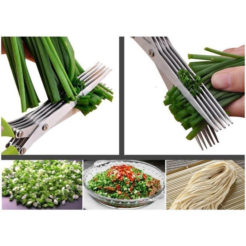 الأخضر 5 طبقات القاطع مقصات لقطع مقص البصل المروحية القطاعة أدوات اكسسوارات المطبخ 6RQJ