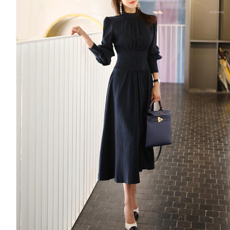 Офисные дамы стойки воротник фонарь рукава женские платья элегантная тонкая талия a-line ruched женское длинное платье вечеринка vestidos femme1