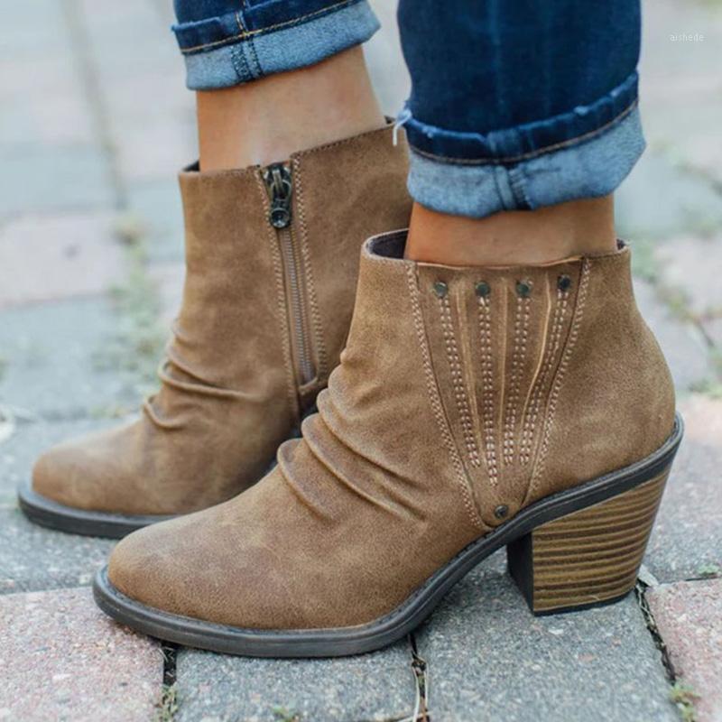 Stivali Stivali invernali Shoes Donna Retro Piattaforma per le donne Tacchi alti Zipper Ankle Ladies Botas Mujer Moda 20211