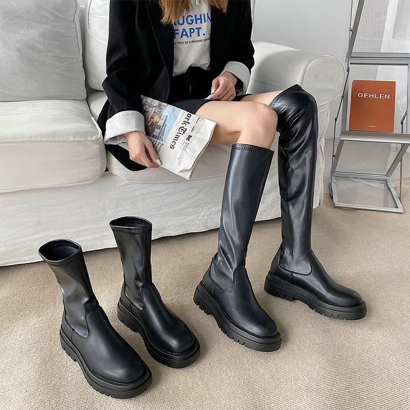 Britânico Estilo Mulheres Botas 2021 Outono Inverno Moda Preto Plataforma das senhoras Deslizamento-na estiramento de couro botas longas Chunky Heel Feminino