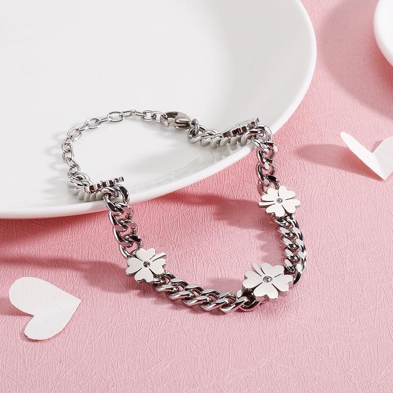Coreano semplice in acciaio inox piccolo amore fresco giovane intarsiato creativo con bracciale braceletDiamond Bracelettitanium st foglie di diamante delle donne