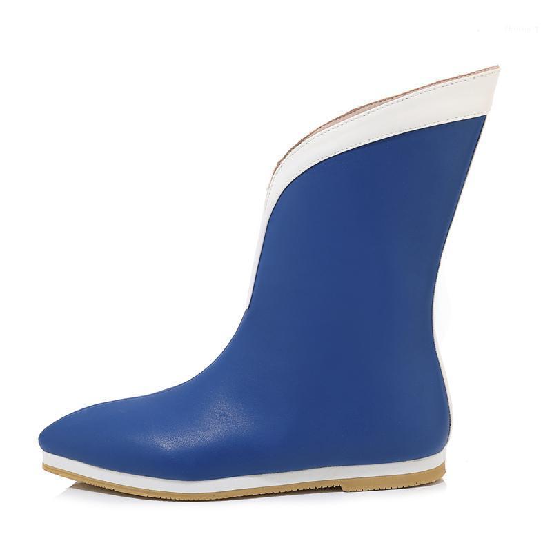 Moda ayak bileği çizmeler kadınlar için yağmur botları kaymaz kauçuk sonbahar bahar kadın yağmur sivri burun açık su ayakkabı mavi1