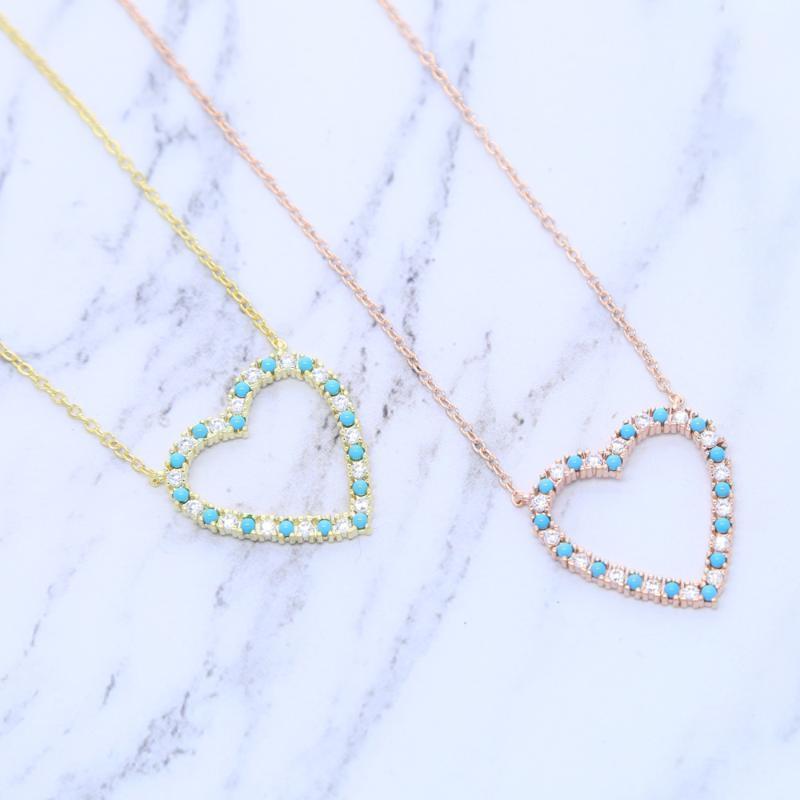 2021 Nueva Calidad Silver Sweet Love Heart Necklace Declaración linda blanca azul cz amor encanto gargantilla joyería