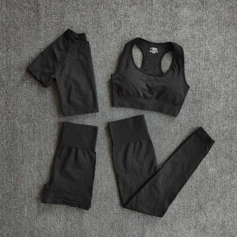 4 unids Set de yoga Set de mujer Ropa deportiva de ropa Ropa deportiva Traje Fitness Manga larga Crop Top Top de cintura alta Leggings Sports Trajes 201105