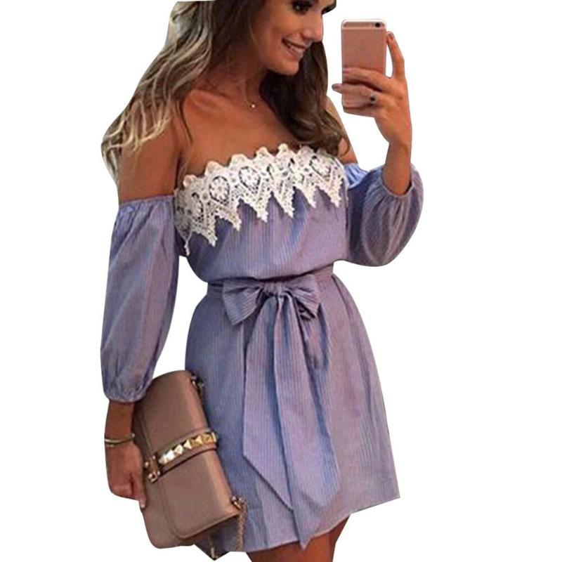 Las mujeres atractivas del vestido del verano Off vestido de las señoras del remiendo del cordón del hombro de la vendimia robe femme Imprimir Beach vendaje Vestidos Mujer