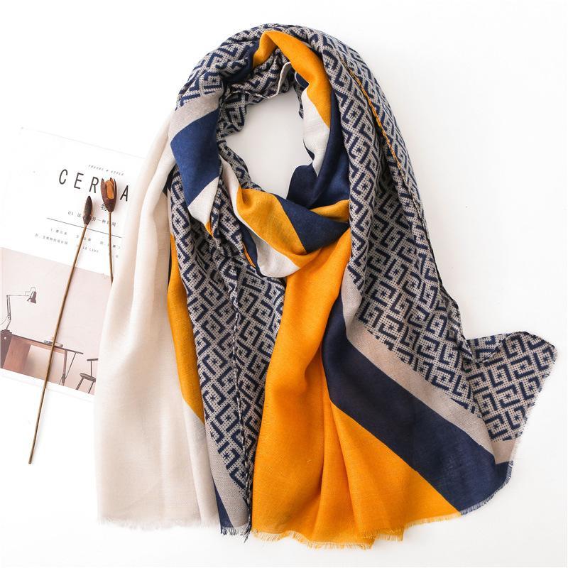 Senhoras New Fashion Geometric Patchwork Fringe Viscose Xaile Scarf Outono Inverno Silenciador Headband Foulards Sjaal Enrole Hijab Baixada Y201007