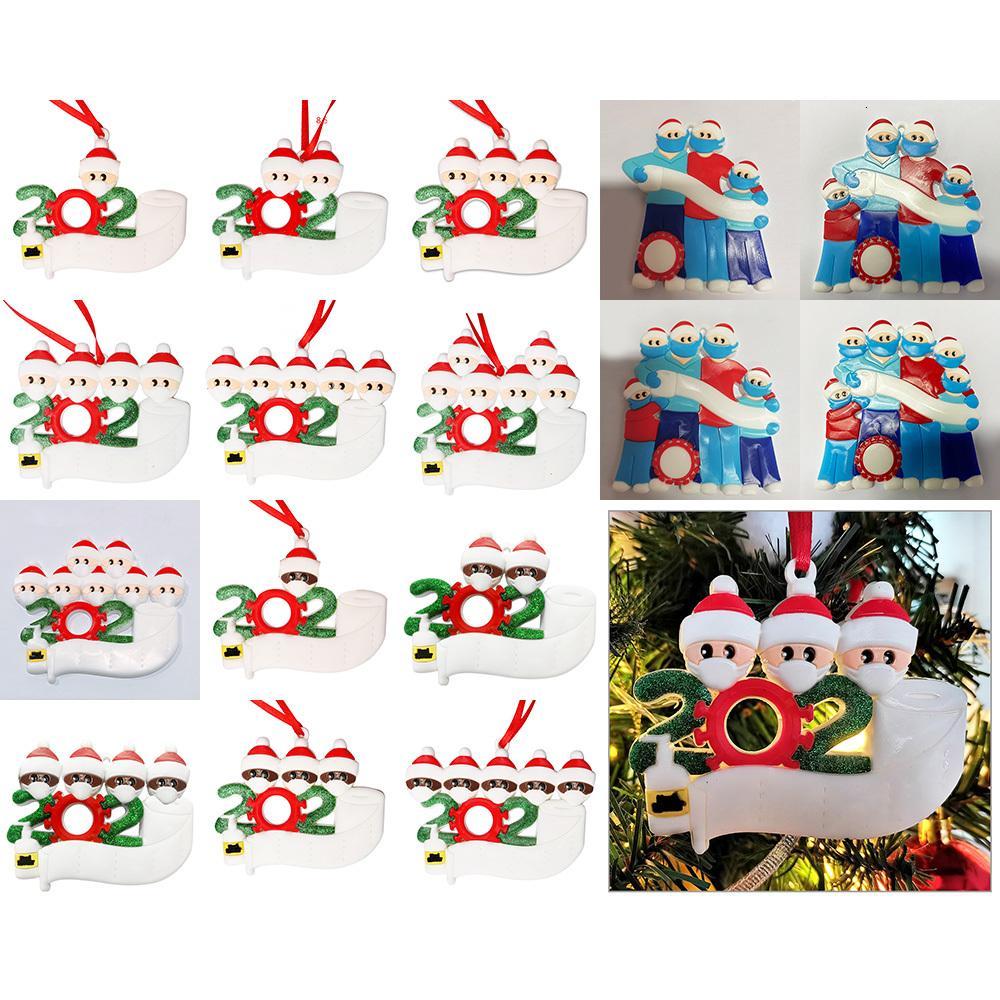 Adornos de Navidad 2020 Decoración de Navidad Máscara Aseo muñeco de nieve decoración holiday papel superviviente del árbol de navidad adornos XD24001