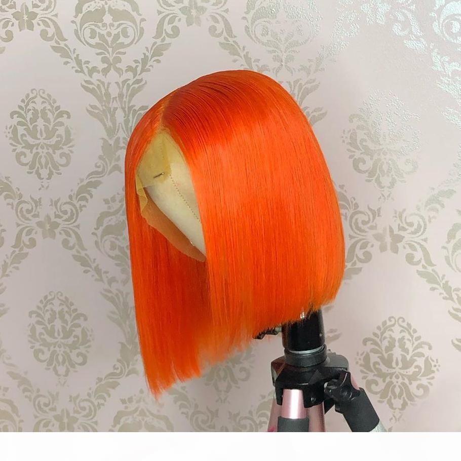 Perruque de couleur Malaisienne Orange Bleu Rose Green 13x6 HD Transparent Dentelle avant Perruque de cheveux Humain Glresse Prealked Choshim Remy 150 Densité