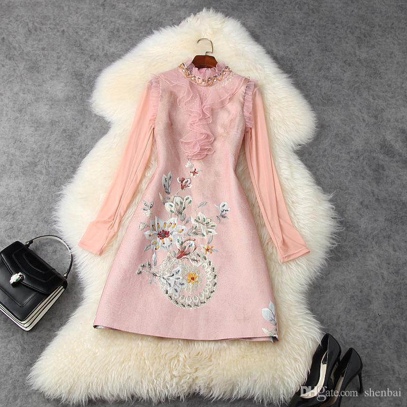 2020 outono outono manga longa rodada pescoço pink top + sem mangas florais contas de painéis de comprimento do joelho vestido de dois pedaços 2 peças set lo03t11358