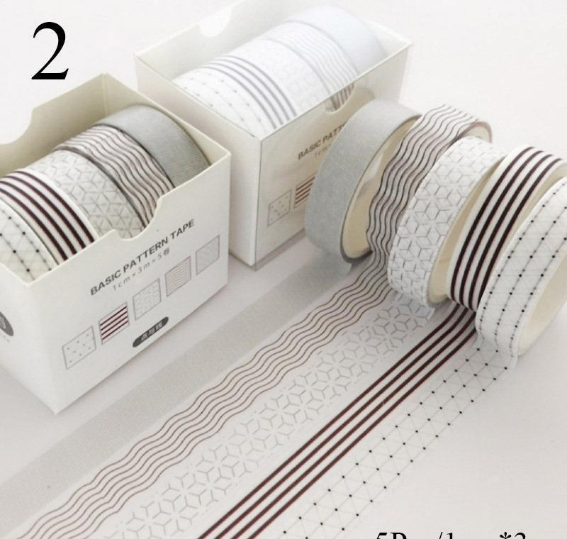 5 Pcs/pack Striped//flowers Colorful Decorative Adhesive Tape Masking Washi Tape Scrapbooking Sticker Label Schoo bbysBZ packing2010