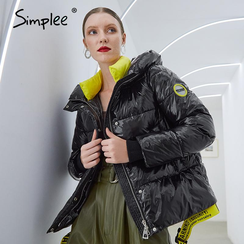 Simplee Short women winter coat parkas New fashion warm hooded shiny jacket coat Ladies office casual snow coat xl clothes 210203
