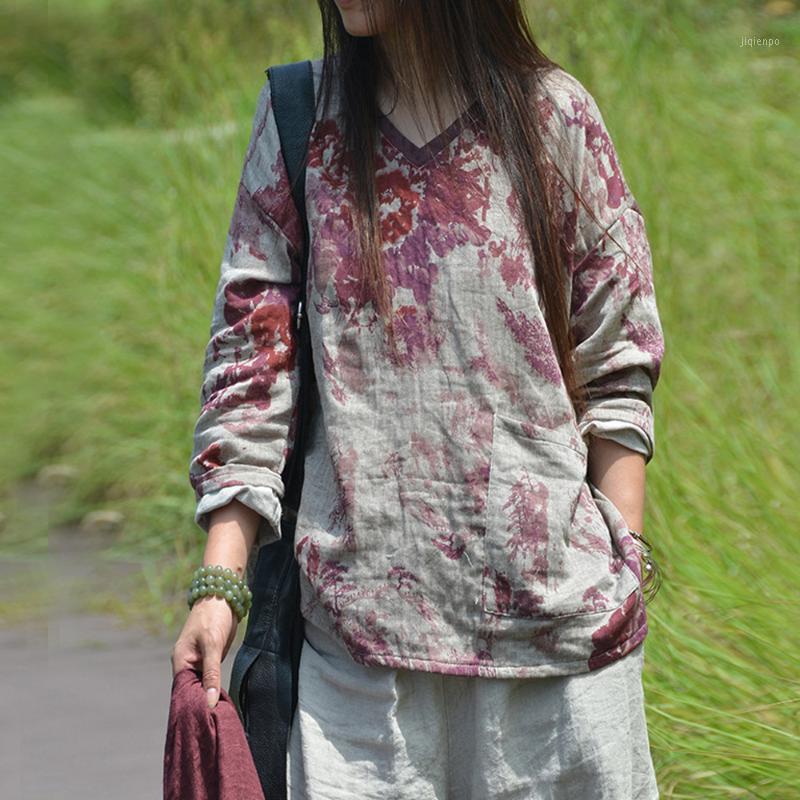 T-shirt das mulheres Johnature Mulheres de outono impressão floral t - shirts V-decote manga longa 2021 algodão linho solto vintage bolsos feminino t-shirts1