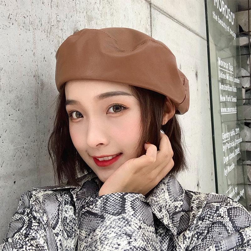 Boinas Para Mujer Sombrero mujeres otoño y el invierno de la boina Negro Cuero de la PU del estilo coreano Chapeau Hembra boinas casquillos para las mujeres Kapelusz
