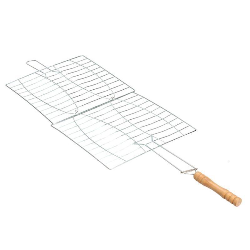 Aço não-vara malhas de madeira punho grelhado rede inoxidável hambúrgueres ao ar livre churrasco ferramentas grade peixe churrasco clipe 0g98