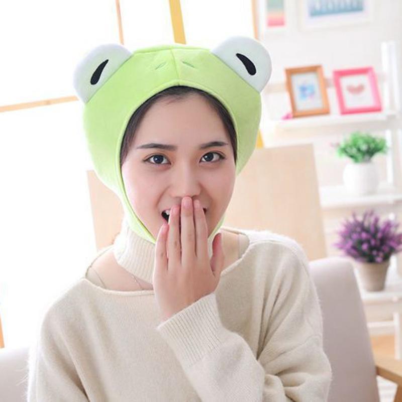 Mütze / Schädelkappen Frauen Mädchen Frosch Tier Earflap Hut Winter Warme Plüsch Mütze Mütze Cosplay Kostüm Partei liefert Po Requisiten