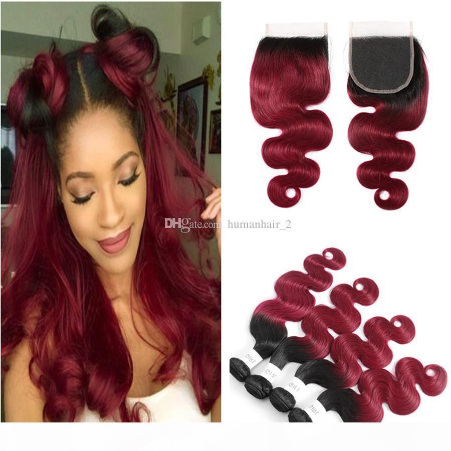 Ombre Haar Weaves mit Spitze Schließung Zwei Ton 1b 99j Menschliches Haar Weaves mit Spitze Schließung Körper-Wellen-Jungfrau-brasilianisches Haar
