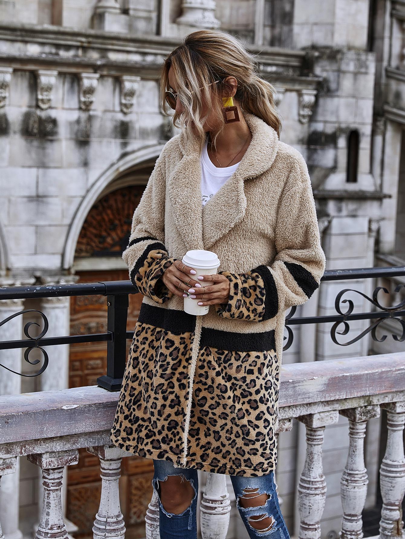 여성 레오파드 스티치 봉제 자켓 코트 패션 가을 겨울 긴 스타일 포켓 캐주얼 테디 두꺼운 착실히 보내다 들어 여성 CS2289
