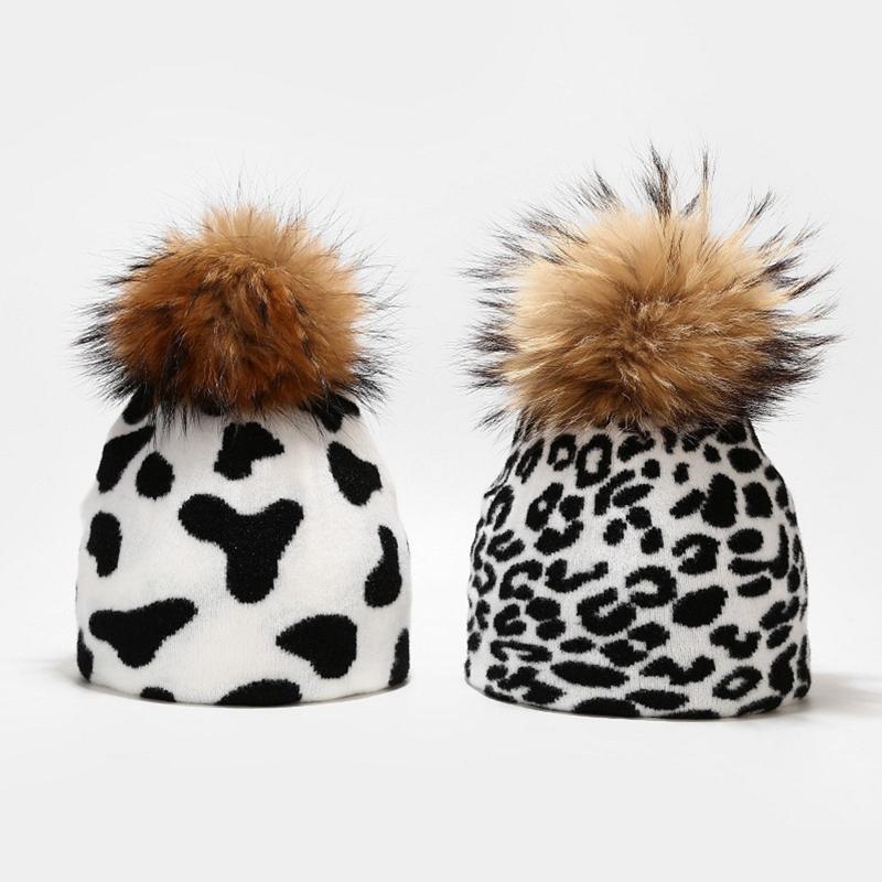 Linda vaca leopardo cebra impreso sombrero de gorro con pom desmontable espesar doble capa caliente Harajuku punto negro blanco Cap