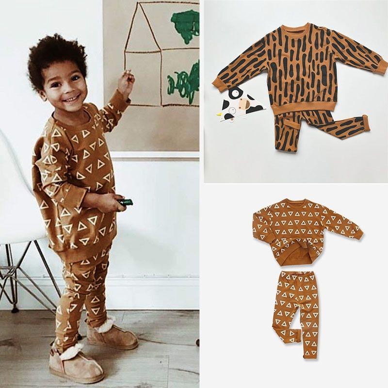 Enkelibb Детская пружина с длинным рукавом Leopard Print Толстовка и брюки Устанавливает стильные тенденции Мальчики для мальчиков Одежда для одежды для девочек Y200325