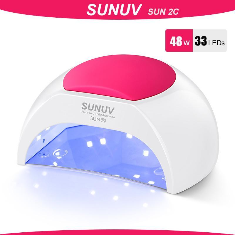 SUNUV SUN2C 48 W Tırnak Lambası UV Lamba Sun2 Uvled Jel Tırnak Kurutucu Için Tırnak Kurutucu Gül Silikon Pad ile Kızılötesi Sensör 201023