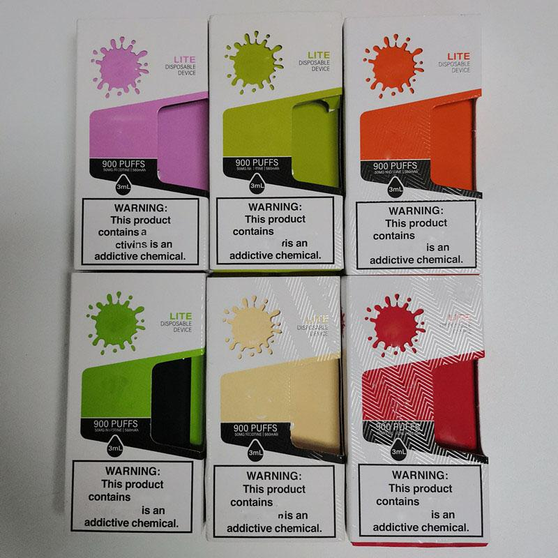 NEW LITE disposable vape device 900puffs 3ml Pod Cartriges 560mah Battery Vape pen Kit VS Puff XXL flex Plus DHL free