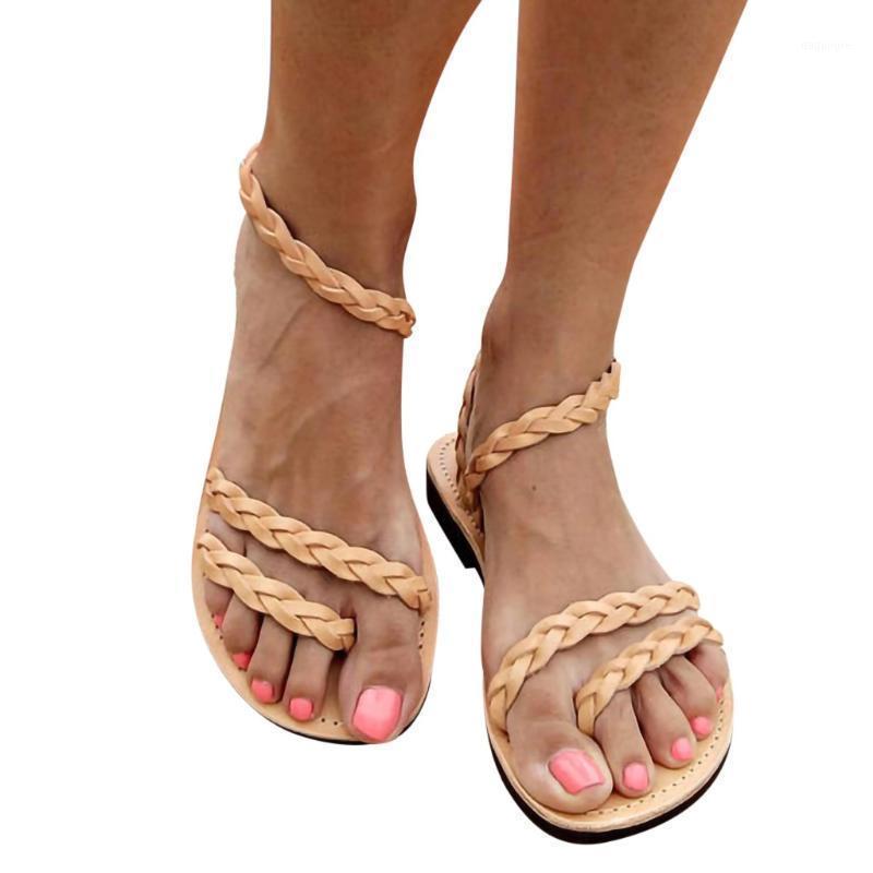 Сандалии Sagace женщины 2021 плоские летние дамы негабаритные тканые пляж удобные дышащие женщины обувь1