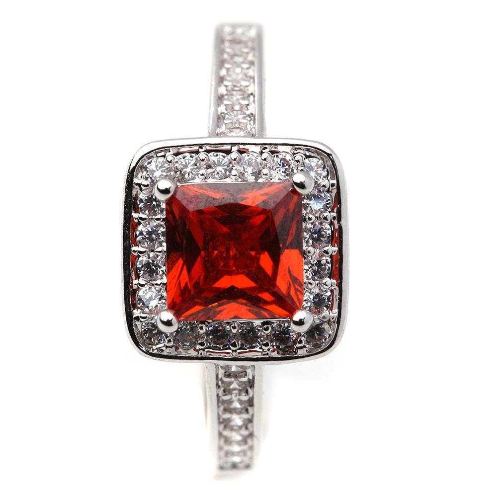 Compromiso de boda Rojo / Azul / Rosa / Claro Cristal Cubic Circon Ring Anillo de Piedra Accesorios de Fiesta de Fiesta de Joyería Regalo de aniversario para mujer