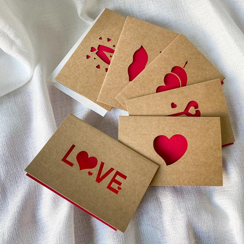 Kraft Paper Love Greeting Card Valentine's Day Hollow Greeting Card Thanksgiving Birthday Wedding Blessing Cards 6pcs/set 62 p2