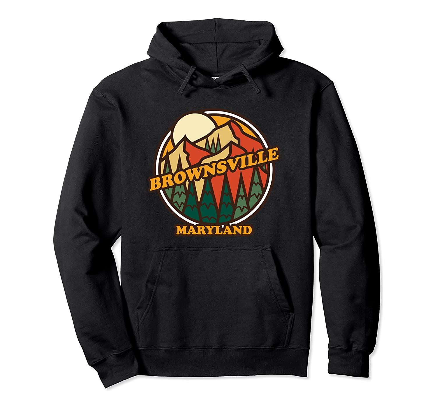 Vintage Brownsville, Maryland Mountain Hiking Souvenir Print Pullover Hoodie Unisex Size S-5XL with Color Black/Grey/Navy/Royal Blue/Dark He