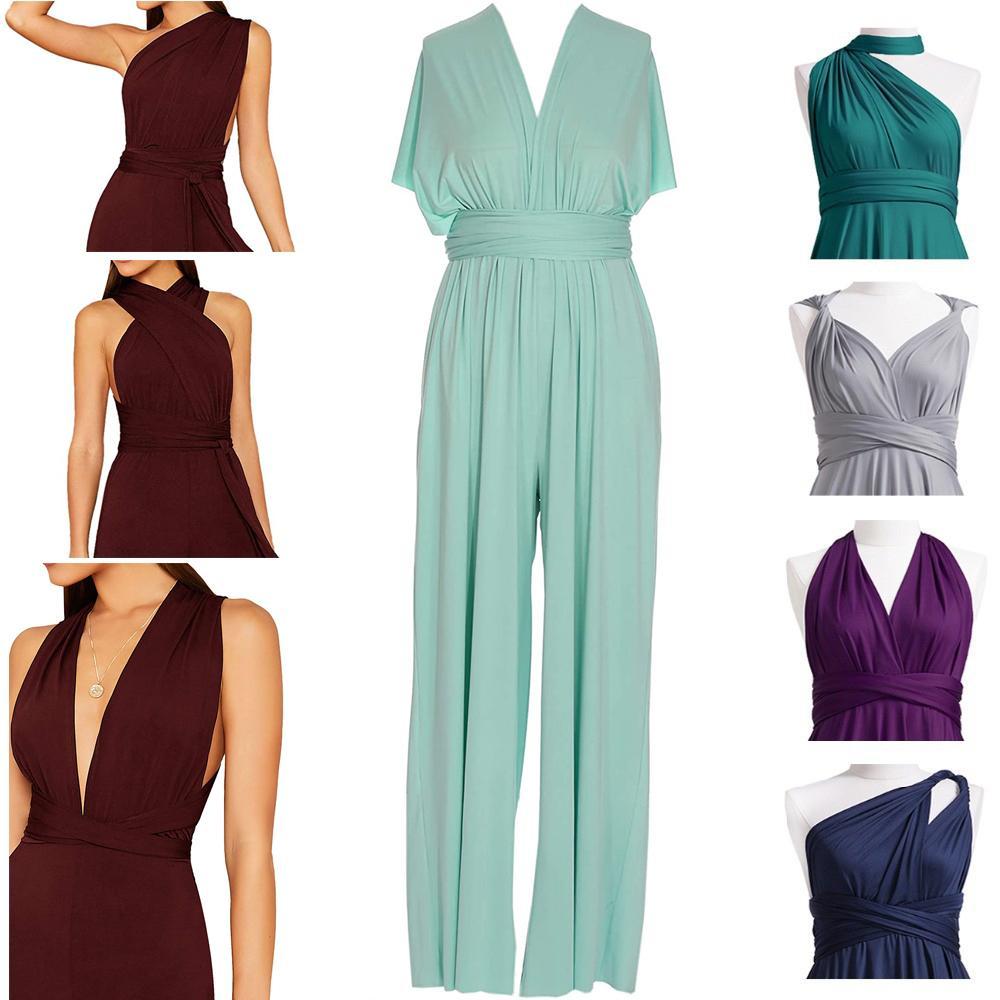 Kadınlar Çok Yönlü Gelinlik Modelleri Cabrio Wrap Tulumlar Akşam Balo Elbise Pantolon Mulit Giymek Onur Elbiseler Düğün Parti Elbiseleri