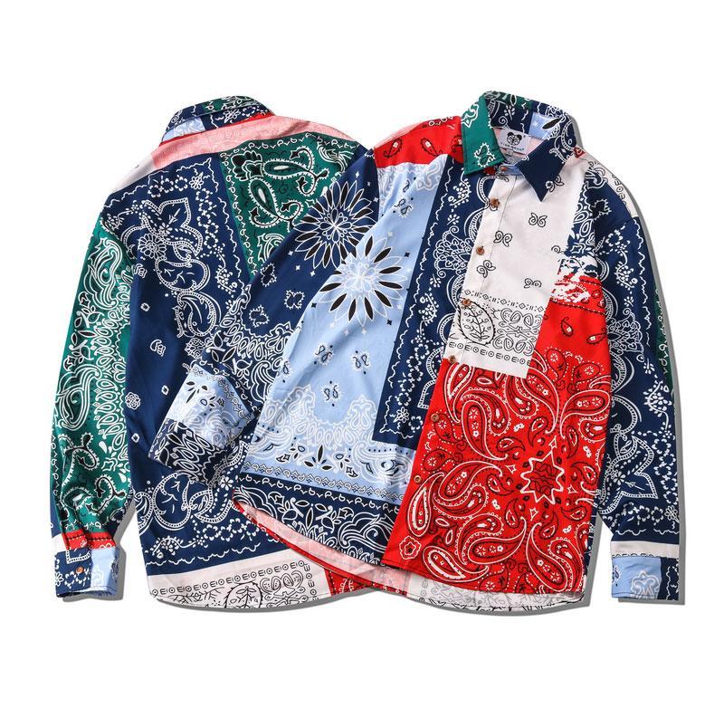 Fashion-autunno-inverno Europa America Classic fredda patchwork Bandana manica lunga Paisley Donna Uomo Casual poliestere Camicia Via Camicia