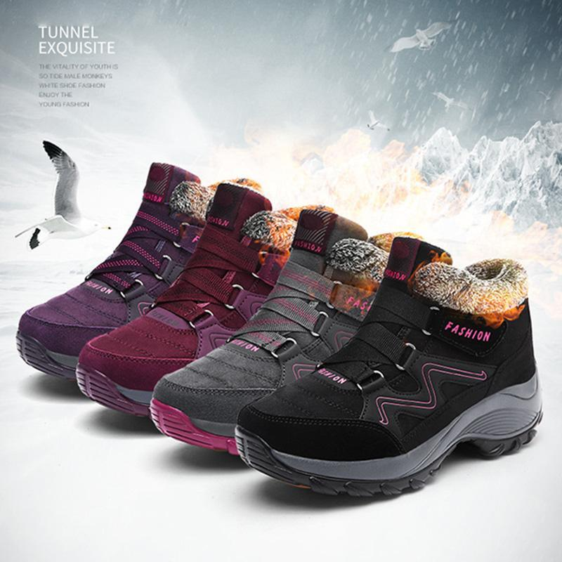 Women Snow Boots Autumn Winter Water Resistant Thick Sole Fleece Lined Warm Cotton Shoes -OPK