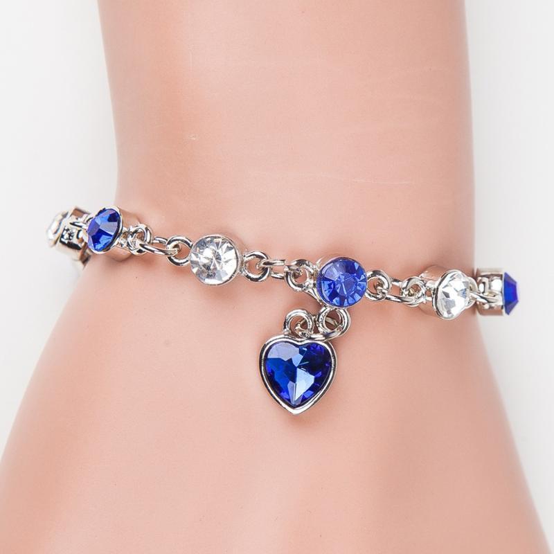 Маленький сердечный подвесной 6 корлоров горный хрусталь причудливые кристалл посеребренные регулируемые браслеты для женщин