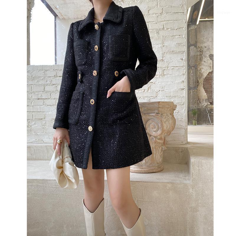 """City Moon """"Design originale Design"""" Piccolo-small-smallet di Fund 2021 Autunno Vento Femmina Cappotti lunghi nel cappotto di Tweed Coat1 Miscela di lana da donna"""