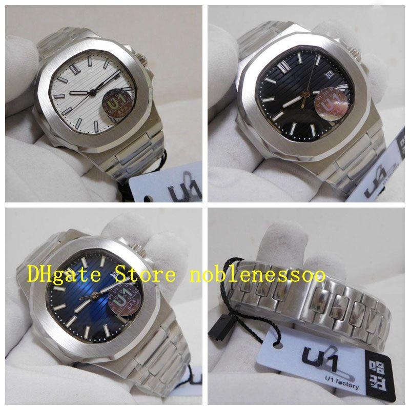 Asia Cal.324 SC Watch Classic Mens Automatic Watch 5711 White Black Dial Blue 40mm U1 Factory Transparent Back steel bracelet Men's Watches
