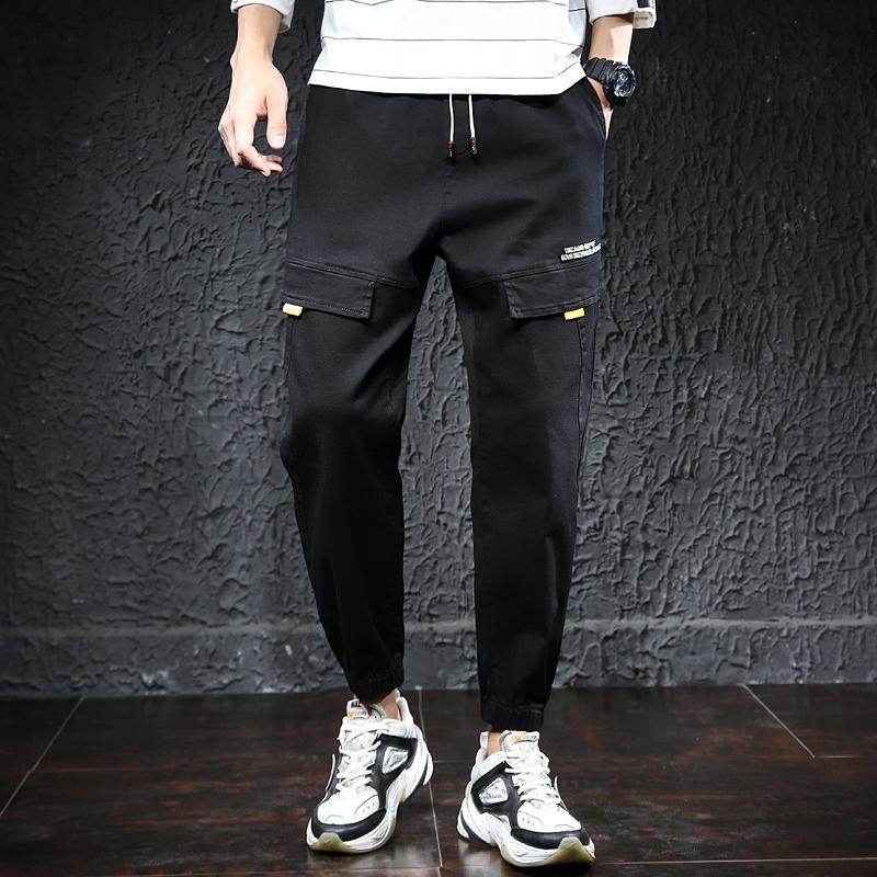 2021 Pantalons de cargaison de printemps Joggers Hommes Black Harem Pantalons Multi-poche Rubans Homme Sweatpants Streetwear Casual Taille élastique