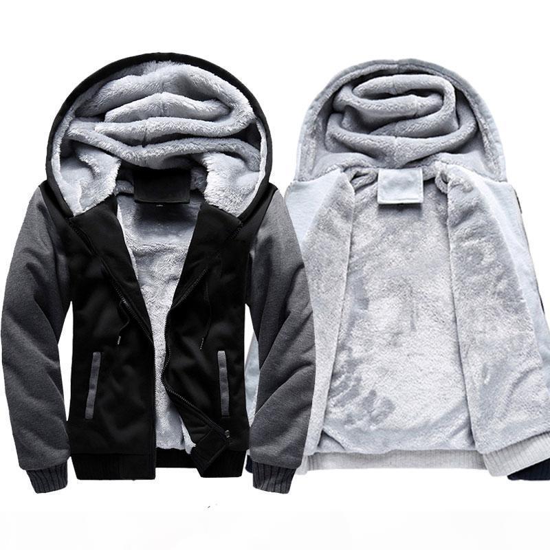 Veste chaude hivernale Hommes à capuche de laine décontractée Sweatshirts épaissi manteau Cardigan Cardigan Homme Homme Homme Vêtements Patchwork Workwork Outwear