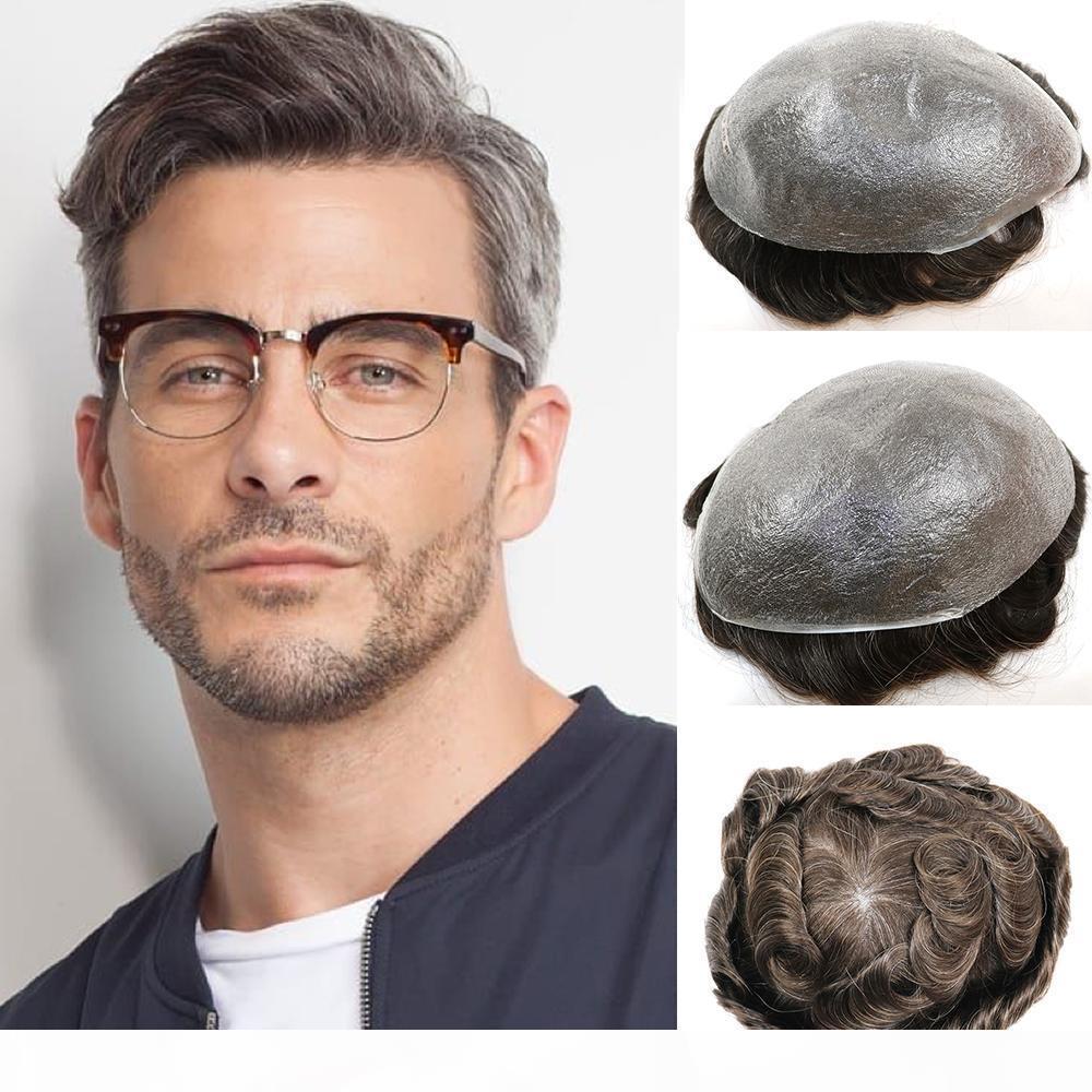 Toupet für Männer Menschliches Haar Toupet 0.03mm ultra dünne Haut V-Schleife mit mittlerer Dichte Wig Ersatzsysteme Herren Toupet NG