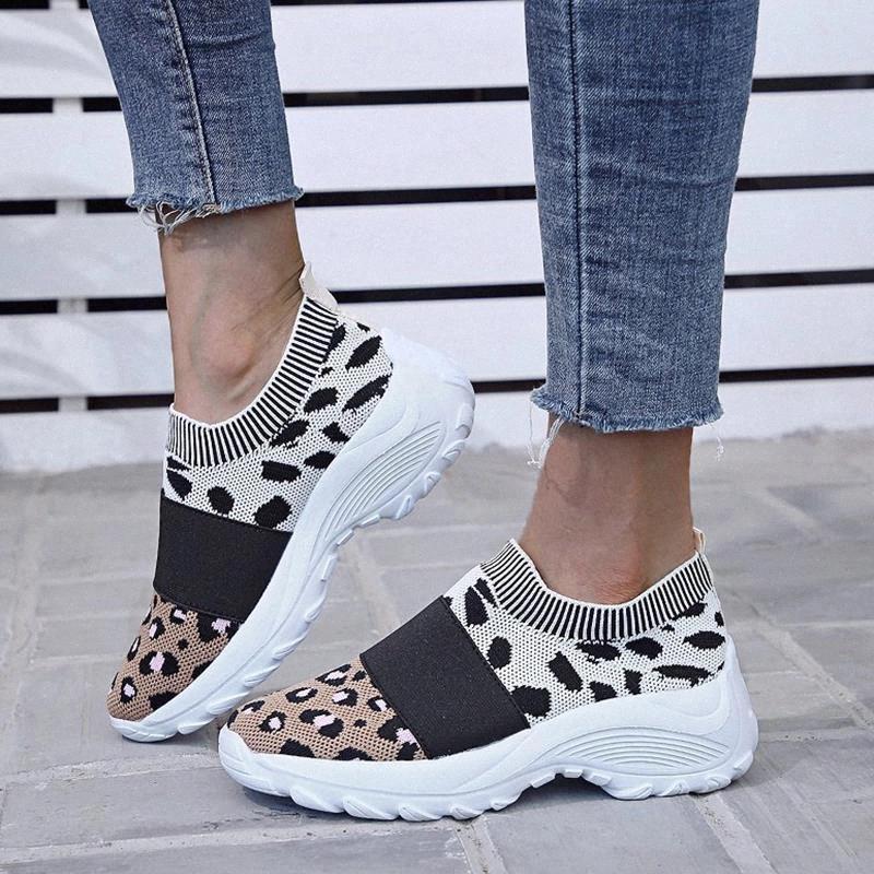 Леопардовые коренастые кроссовки женщин мода легкие вязаные повседневные туфли женщины дышащие сетки кроссовки платформы тенсист Феминино # FU6N