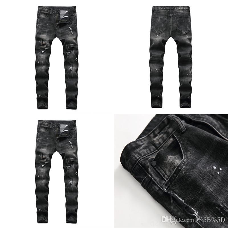 VHWB мужские джинсы мужские моды 13-летний мальчик джинсы байкер джинсы вскользь растягивающие зеленые джинсовые брюки тонкий подходящий черный синий ковбой