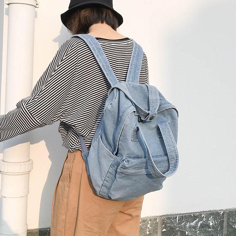 Simple Denim Backpack for Women Multi Student School Teenage Girl Female Large Capacity Travel Shoulder Bag Q1113