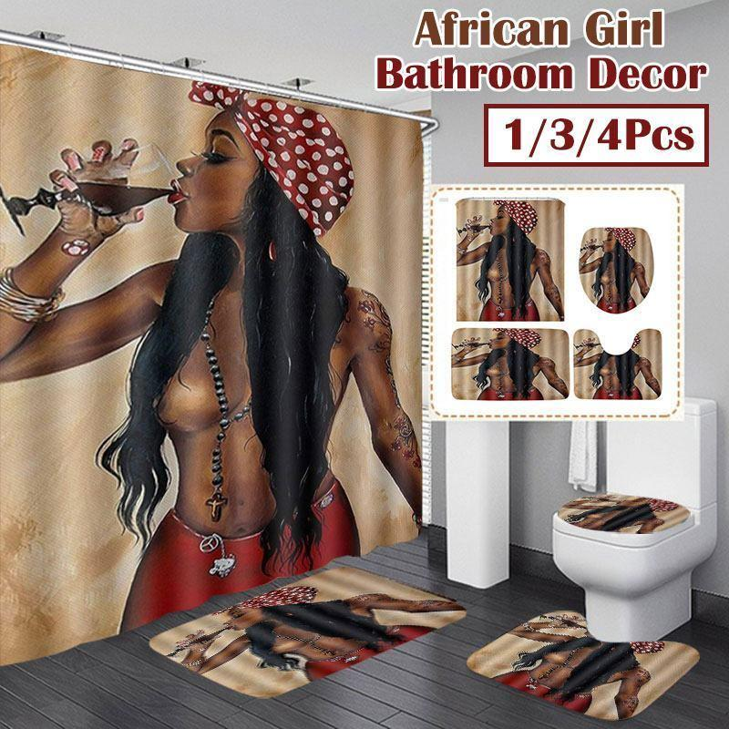 4pcs 아프리카 여자 방수 욕실 샤워 커튼 세트 안티 슬립 욕실 매트 러그 3D 프린트 화장실 폴리 에스터 커버 매트 세트 201128