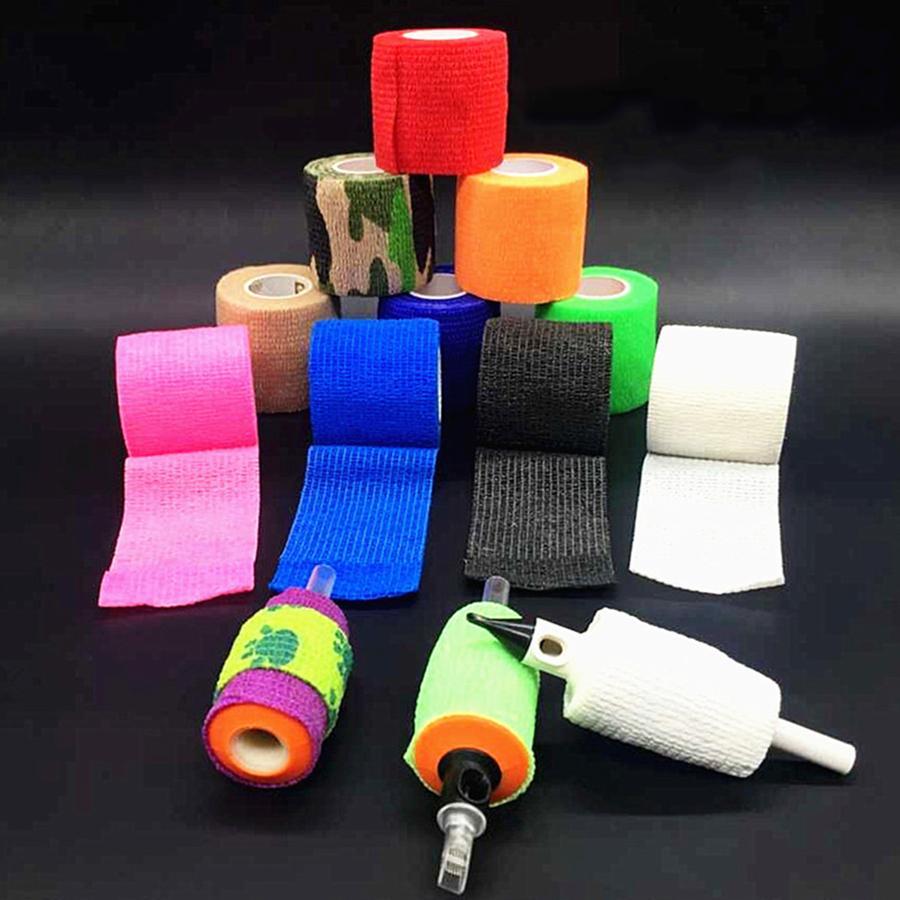 Couvre Grip Tape Tattoo élastique 50mm flexible Nonwoven cohésive Wrap protection ongles auto-adhésif auto Bandages Tattoo Accessoires 12 Rolls