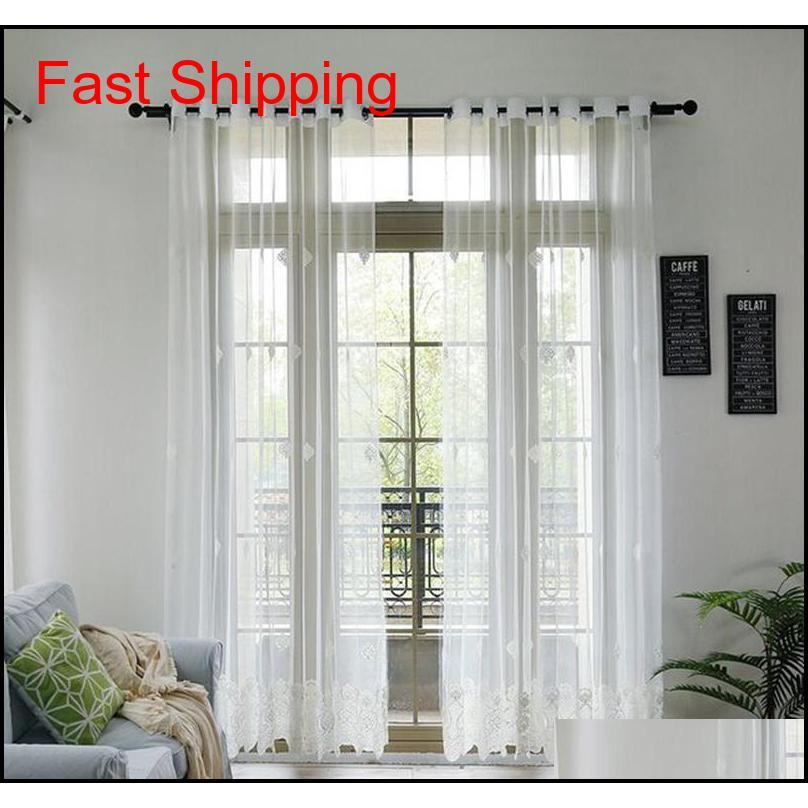 Korean Pure White Lace Embroidered Voile Curtain For Living Room Bedroom Embroidered Sheer Tulle Window Treat qylOjx bdesports