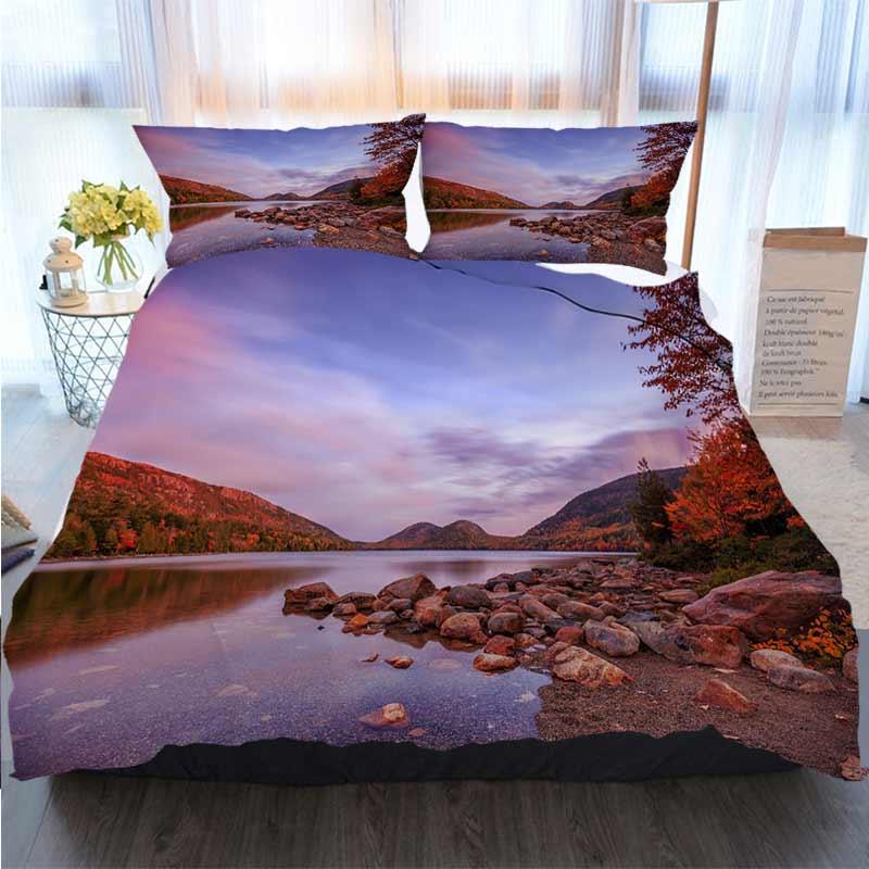 3D дизайнер постельного белья пруд в Национальный парк Акадия, штат Мэн, США Home Luxury Мягкое пуховое Одеяло Обложка