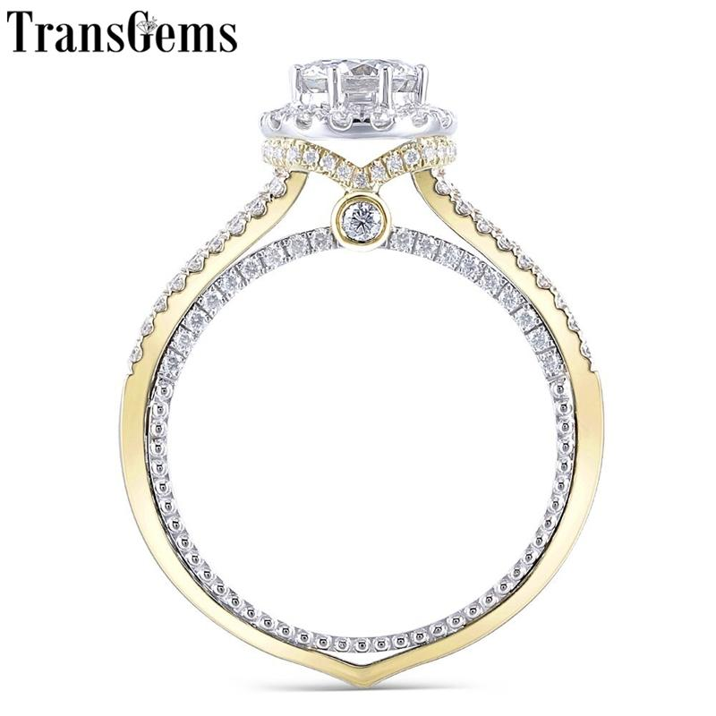 Transgems 14k Gold Gold Center 1CT 6.5mm F Color Moissantie Halo Anillo de compromiso con Moissantie Accents for Women Y200620