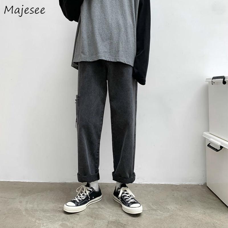 Männer Jeans Denim Feste Gerade Taschen Lose Plus Größe 3XL Wide Bein Fracht Koreanische Mode Trendy Allgleichstudenten Streetwear1