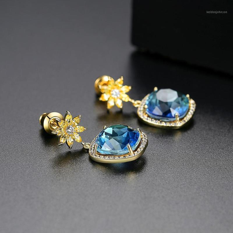 Брачка люстра Бильколор модный модный золотой желтый кубический цветок и синий серьги капель SQUE для женщин1